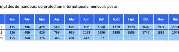 94 demandes de protection internationale en juillet